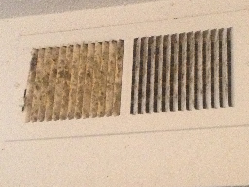 Air vent cleaning in Sugar Land, TX, with Mold, fungus growing out of vents in residential home
