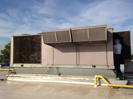 Commercial Air Duct Cleaning in a Rooftop Air Handler Unit