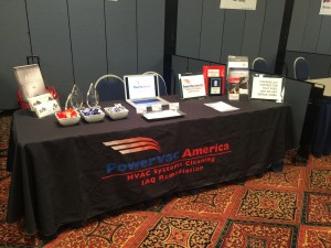 Power Vac America Vendor Booth Table Tablecloth brochures