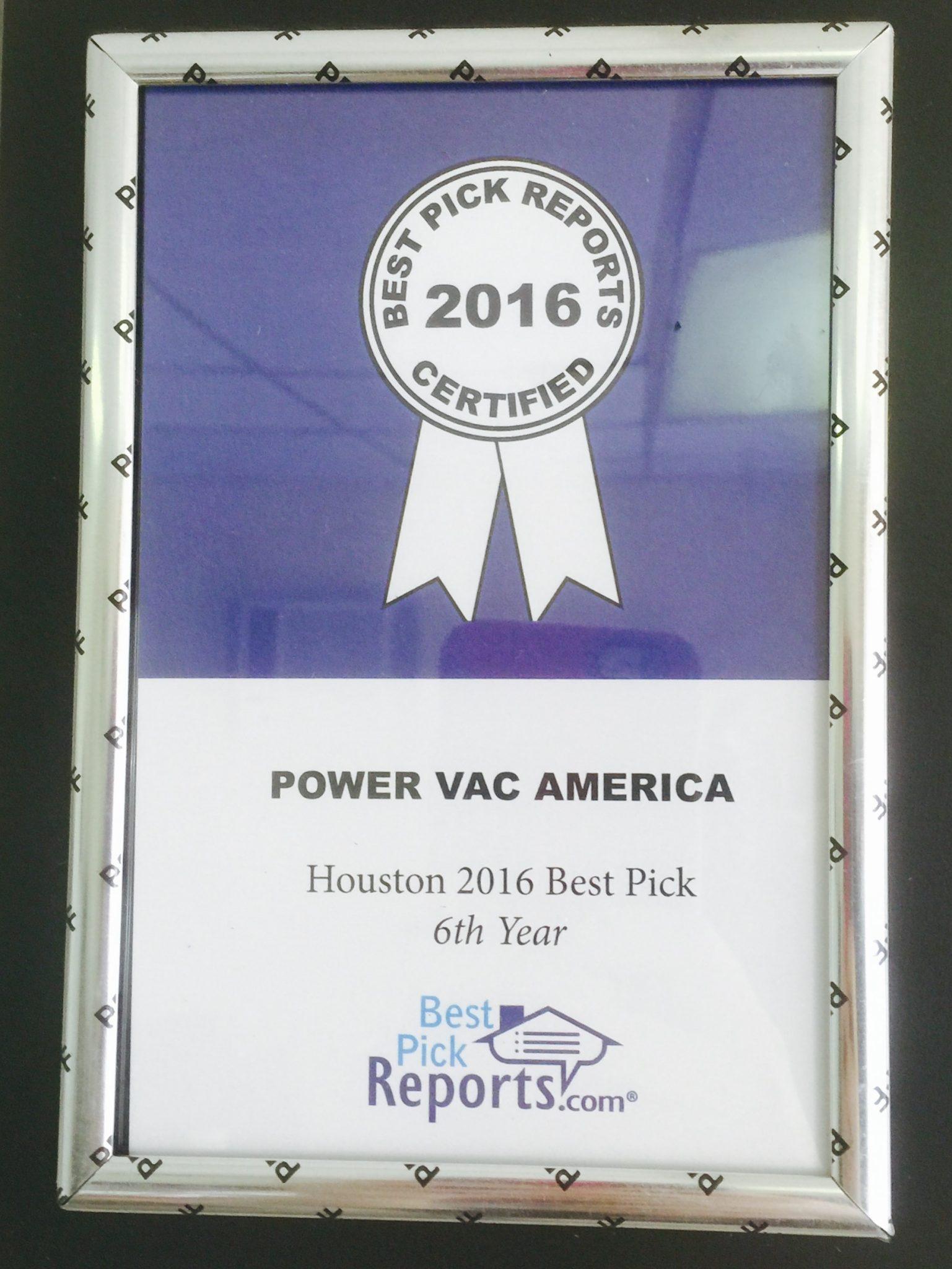 Best Picks Award 2016 Power Vac America